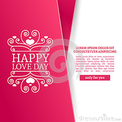 Happy Valentine S Day Brochure With Decoration Pink Tape For Sale Romantic Poster