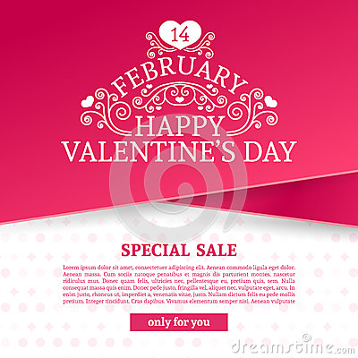 Free Template Design Valentine Banner. Happy Valentine`s  Day Brochure With Decoration  Pink Tape For Sale. Romantic Poster Stock Images - 84115764