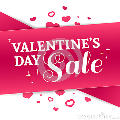 Free Template Design Valentine Banner. Happy Valentine`s  Day Brochure With Decoration  Pink Tape For Sale. Romantic Poster Stock Image - 84116221