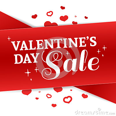 Free Template Design Valentine Banner. Happy Valentine`s Day Brochure With Decoration Red Tape For Sale. Romantic Poster With Royalty Free Stock Photos - 85813668
