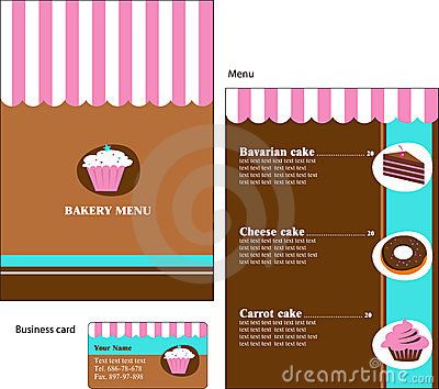 Template designs of bakery and restaurant menu