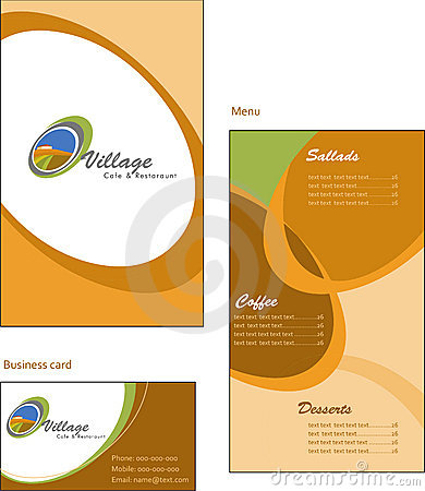 Template designs of menu and business card for co