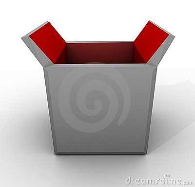 Template Empty Open Box Red Grey White Carton