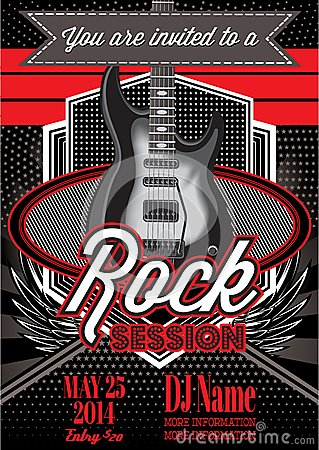 Free Template For A Rock Concert With Guitar Royalty Free Stock Photos - 44489458