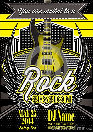 Free Template For A Rock Concert With Guitar Stock Images - 46304004