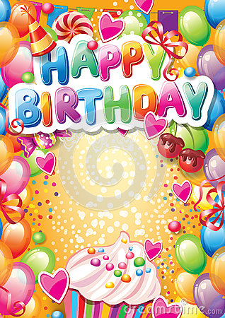 Free Template For Happy Birthday Card Stock Photos - 28714443