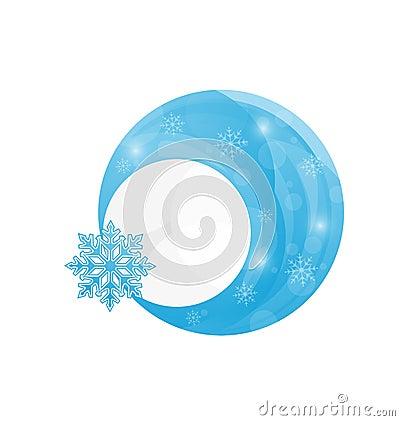 Template frame design with christmas snowflake