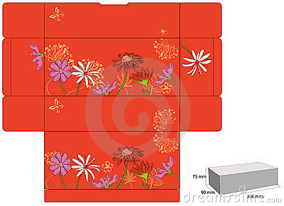 Template for gift box with die cut.