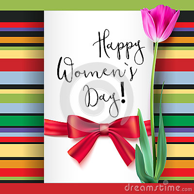 Free Template Greeting Card With Tulip And Red Bow. Happy Women S Day, Congratulations For Nice And Lovely People. Realistic Stock Images - 91774834