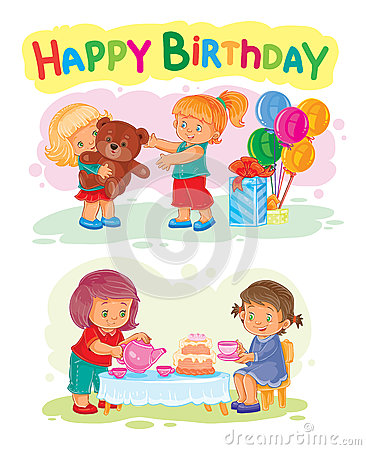 Happy Birthday Greeting Card Template Stock Vector - Image: 51551192