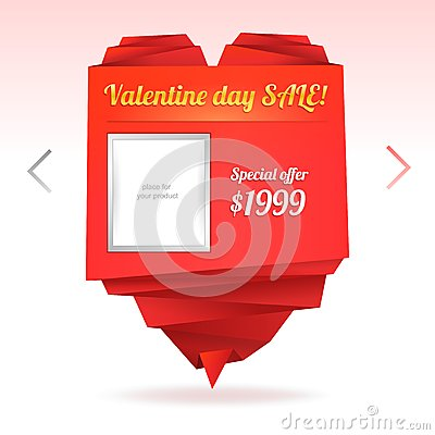 Template for on-line shop with origami paper heart