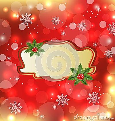 Template with mistletoe for design christmas card