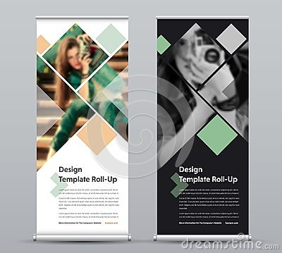 Free Template Of Vertical Roll-up Banner With Square Elements For A P Stock Image - 122262471