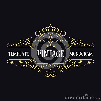 Free Template Of Vintage Logo. Monogram Initials. Decorative Frame. Royalty Free Stock Images - 129615939