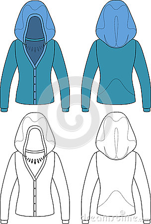 Template outline illustration of a blank hooded wo