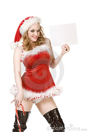 Template - pin up Mrs Santa Claus with candy cane
