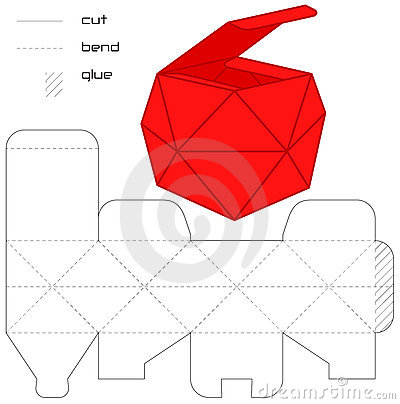 Free Template Present Box Red Cut Square Casket Royalty Free Stock Photos - 16328808
