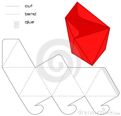 Free Template Present Box Red Hedra Cut Triangle Royalty Free Stock Photos - 11540598