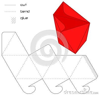 Template Present  box red hedra cut triangle