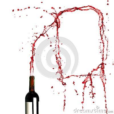 Template of splashing red wine
