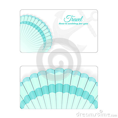 Template of the summer sea banner. Vector background with seashells. Place under the text. It is executed in a turquoise color. Stock Photo
