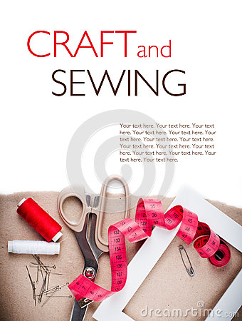 Template with tools for sewing and handmade