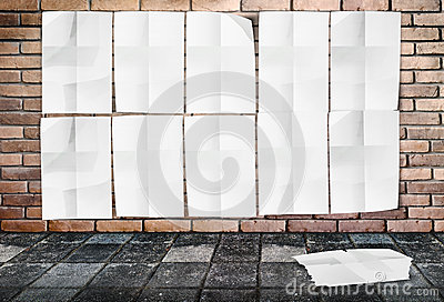 Template - Wall of Crumpled Posters on brick wall & footpath