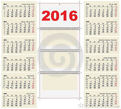 Template wall quarterly Calendar for 2016. Illustration in vector ...