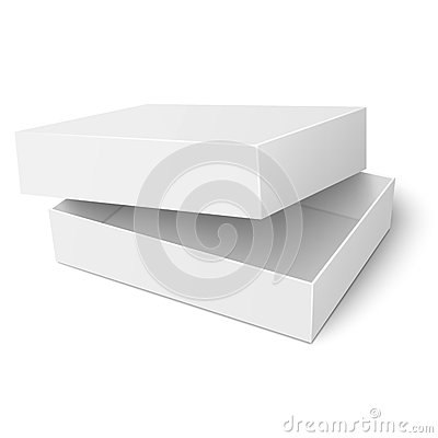 template of white cardboard box with opened lid stock