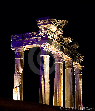 Temple of Apollo at night, Side, Turkey