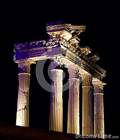 Temple of Apollo at night, Side, Turkey
