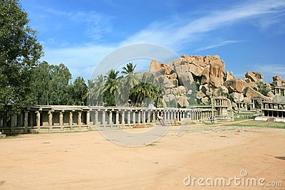 Temple in the barren landscape of Hampi