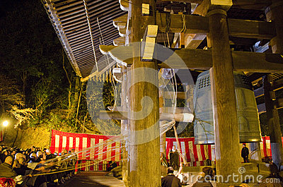 Temple bell at Chion-in at New Years Eve Editorial Photography
