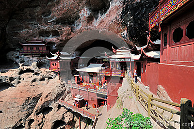 Temple built on cliff, in Fujian, South of China Editorial Stock Image