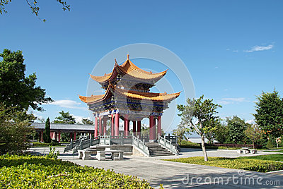Temple in China with blue sky