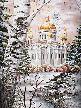 Temple of the Christ of the Savior on a birch bark