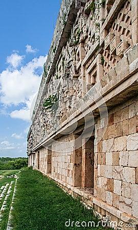 Temple Facade in Uxmal Yucatan Mexico