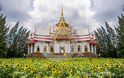 Temple on field of sunflower