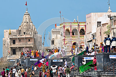 Temple at Ghat Editorial Stock Photo