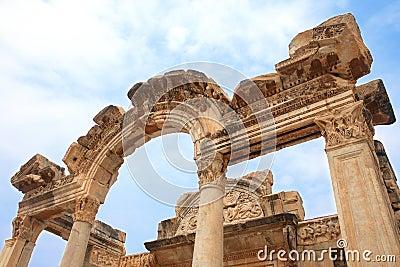 Temple of Hadrian in ancient city of Ephesus