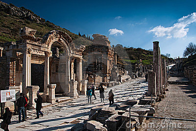 Temple of Hadrian, Ephesus, at sunset Editorial Stock Image