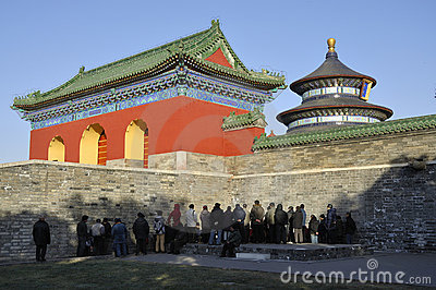 Temple of Heaven and chinese Editorial Image