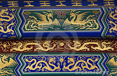 Temple Heaven Details Dragons Beijing China