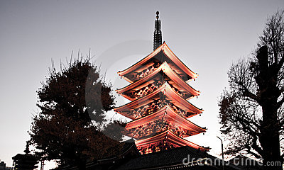 Temple in Japan, Sensoji pagoda tower