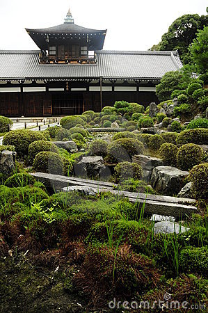 Temple with japanese garden