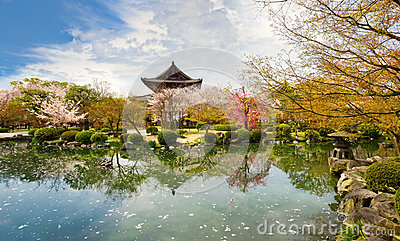 Temple in Kyoto in spring,  Japan