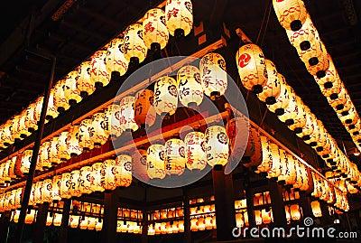 Temple Lanterns at Yasaka Shrine in Kyoto