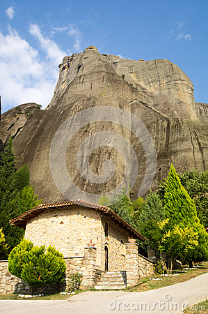 Temple monks, hermits at the foot of Meteora in Greece