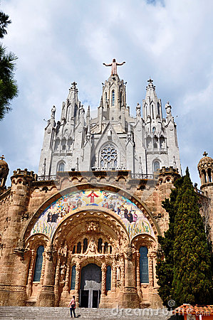 Temple on mountain top - Tibidabo in Barcelona