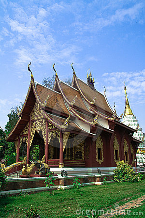 Temple in northern Thailand on blue sky